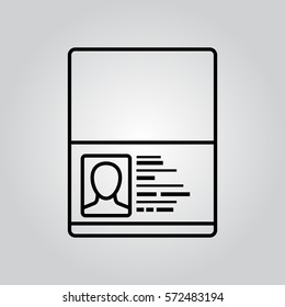 Passport icon thin line. Simple vector black pictogram on grey background