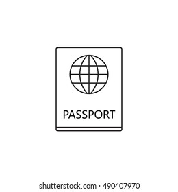 passport line icon, outline pass vector logo, linear official document pictogram isolated on white, pixel perfect illustration