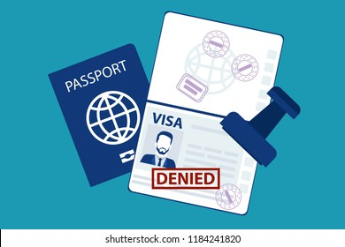 Passport of a man male with the red stamp denied on travel visa on it refused entry visa concept isolated on blue background. Eps  Vector illustration Minimal white blue flat business modern style.