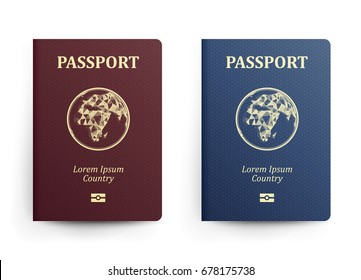 Passport With Map. Africa. Realistic Vector Illustration. Red And Blue Passports With Globe. International Identification Document. Front Cover. Isolated