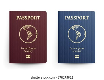 Passport With Map. South America. Realistic Vector Illustration. Red And Blue Passports With Globe. International Identification Document. Front Cover. Isolated
