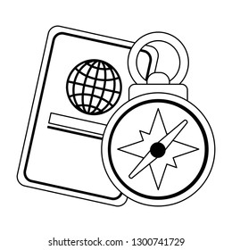 passport and navigation compass in black and white
