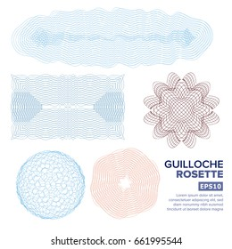 Passport Page Guilloche Rosette Set Vector. Decorative Page Abstract Stamp Rosette Elements For Diploma, Certificate, Money, Passport. Watermark Guilloche Background Pattern. Vector Illustration.