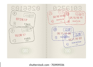 Passport pages with international stamps. Vector 3d illustration isolated on white background