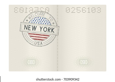 Passport pages with Welcome to New York stamp. Tourist colored sign. Vector 3d illustration