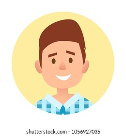 Passport photo of young handsome man in blue checkered shirt close-up in yellow round vector illustration isolated on white.