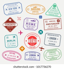 Passport stamp set. Different countries airport visa stamp. Custom control cachet. New York, Rome, Amsterdam, London, Barcelona, Tokyo, Singapore, Lisbon, Berlin immigration sign. Vector illustration.