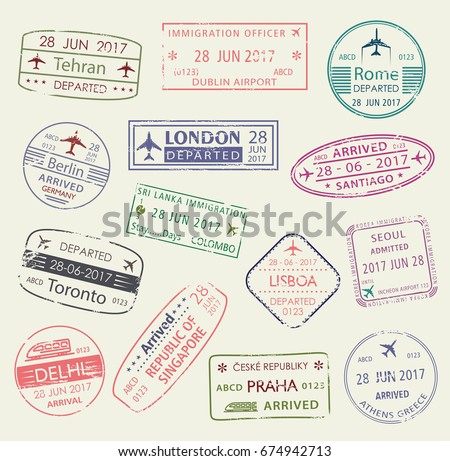 Passport Stamp Of Travel Visa Isolated Set Italy Greece Germany UK