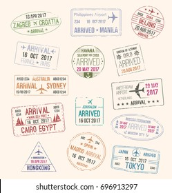 Passport stamp and travel visa sign set of arriving to France, Spain, Japan, China, Russia, Norway, Australia, Egypt, Netherlands and Croatia. Tourism, passport control and immigration themes design