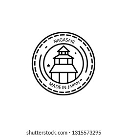 Passport stamp, visa, Nagasaki, Made in Japan icon. Element of passport stamp for mobile concept and web apps icon. Thin line icon for website design and development