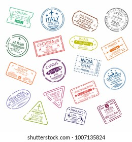Passport stamp or visa signs for entry  to the different countries.  International Airport  symbols. Vector