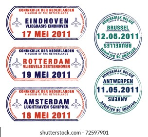 Passport stamps of Belgium and the Netherlands in vector format.