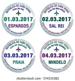Passport stamps Cape Verde in vector format.