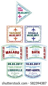 Passport stamps Cote d'Ivoire, Burkina Faso, Benin, Ghana and Togo in vector format. Translation: Aéroport - Airport.