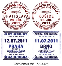 Passport stamps of Czech Republic and Slovakia in vector format.