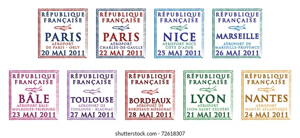 Passport stamps from France in vector format.