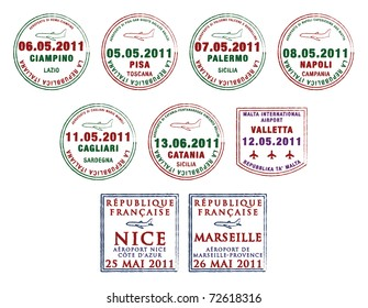 Passport stamps from Italy, Malta and France in vector format.