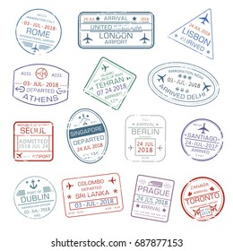 Passport stamps set with city names Rome Italy , London or Lisbon and Athens, Tehran or Delhi and Seoul, Singapore, Berlin Germany and Dublin, Colombo. Travel country arrival vector isolated icons