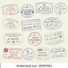 Passport stamps set of city names Los Angeles, New York, Helsinki, Stockholm, Vienna, Jakarta, Kuala Lumpur, Warsaw, Mexico, Brussels . Travel country arrival vector isolated icons