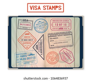 Passport with stamps for United States of America or USA, Korea Seoul, Cambodia and Paris, Hong Kong, China and France, London Gatwick, Georgia. Journey and travel, tourism and immigration theme