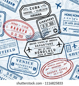 Passport stamps vector background - travel stamp seamless texture (fictitious stamps).