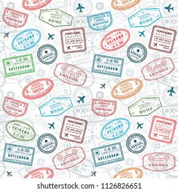 Passport stamps vector seamless pattern - travel stamp theme (fictitious stamps).