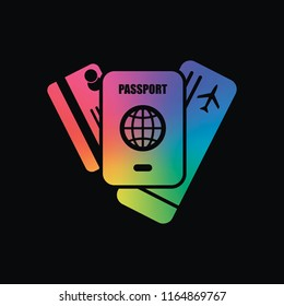 passport, ticket, credit card. air travel concept. Rainbow color and dark background