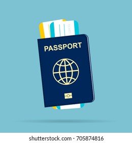 Passport with tickets
