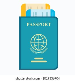 Passport with tickets. Air travel concept. Flat Design citizenship ID for traveler isolated. Blue international document. Stock flat vector illustration.
