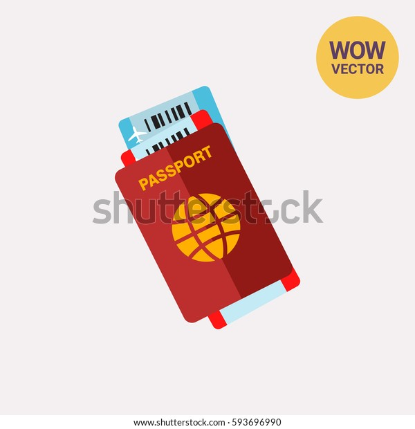 Passport with Tickets Vector Icon