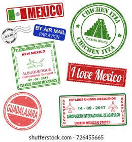 Passport or travel set of grunge stamps from Mexico, vector illustration