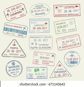 Passport travel stamps set with city names Britain Liverpool and Manchester or Glasgow, France Marseilles, Seville and Barcelona, Lyon, Venice and Geneva. Country arrival entry vector isolated icons