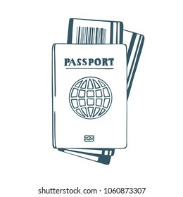 Passport and travel tickets hand drawn illustration. Vector passport with tickets isolated on white background.