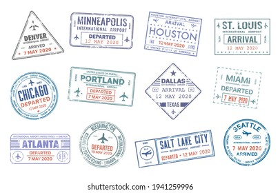 Passport travel vector stamps with USA city names Denver, Minneapolis, Houston, St. Louise and Chicago, Portland or Dallas, Miami or Atlanta and Washington country migration arrival entry isolated set