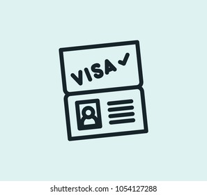 Passport visa icon line isolated on clean background. Passport visa icon concept drawing icon line in modern style. Vector illustration for your web site mobile logo app UI design.