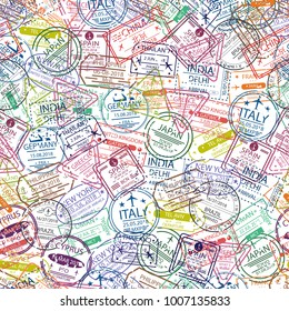 Passport visa stamp seamless pattern. Travel background with visa stamp of different countries of Europe and Asia. Vector