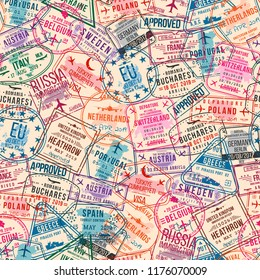 Passport visa stamps, seamless pattern. International and immigration office rubber stamps. Traveling and tourism concept, vintage background. Vector