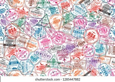 Passport visa stamps, seamless pattern. International and immigration office rubber stamps. Traveling and tourism concept background. Vector