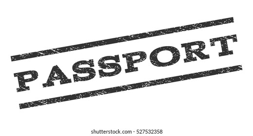 Passport watermark stamp. Text caption between parallel lines with grunge design style. Rubber seal stamp with dust texture. Vector gray color ink imprint on a white background.