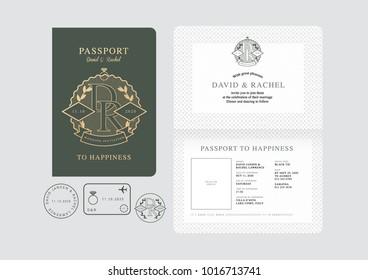 passport wedding invitation card template vector/illustration