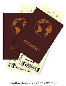 Passports with plane tickets. Vector illustration of two international passports with boarding pass tickets.