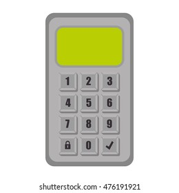 password code numbers electronic buttons locked unlocked security system vector illustration