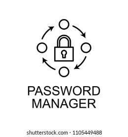 password manager outline icon. Element of data protection icon with name for mobile concept and web apps. Thin line password manager icon can be used for web and mobile on white background