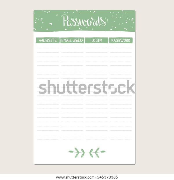 picture relating to Password Organizer Template known as Pword Organizer Template Vector Inventory Vector (Royalty