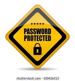 Password protected sign, eps10 illustration