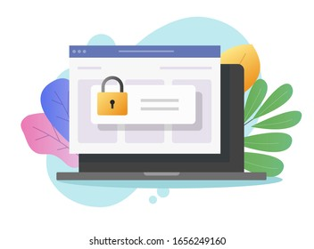 Password secure access on laptop computer on web internet browser window vector flat cartoon, pc lock or padlock as digital privacy website entry online, protection or authorization design colorful