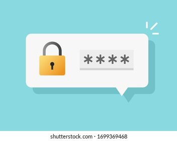Password secure login access notice vector or authenticationverification code note message bubble speech icon flat cartoon illustration isolated