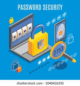 Password security  background with unlocked notification on laptop screen and fingerprint button on smartphone isometric vector illustration