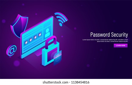 Password Security concept, responsive hero image design with  isometric view of login window with lock and security shield.