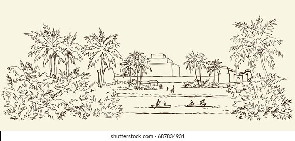 Past biblic sumer babil aged tropical rural tribe dwelling. Aramean chaldean peasant job scene. Middle east old semitic view. Ink drawn picture sketch in art retro etching graphic style pen on paper